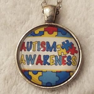 Autism Awareness puzzle cabochon necklace new